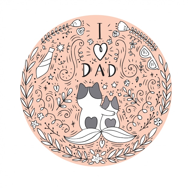 Papa van de beeldverhaal de leuke kat en babyvector. Premium Vector