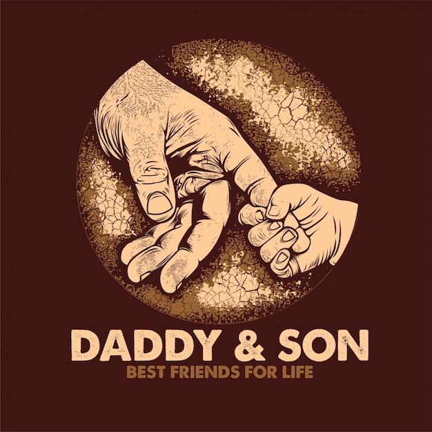 Papa & zoon beste vrienden voor het leven poster Premium Vector