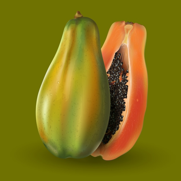 Papaya op groene achtergrond Premium Vector