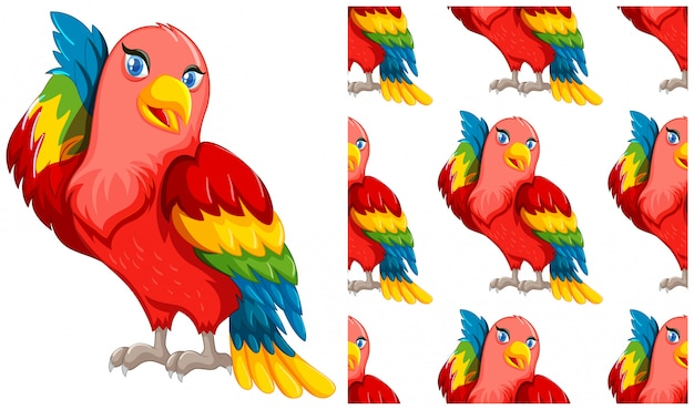 Papegaai geïsoleerd op wit Gratis Vector