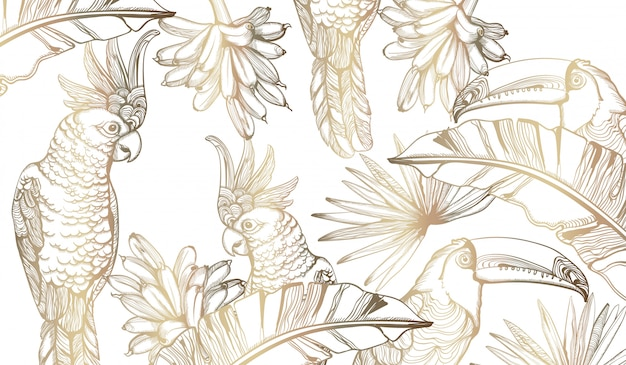 Papegaai gouden kaart lijntekeningen. exotische palmbladendecors Premium Vector