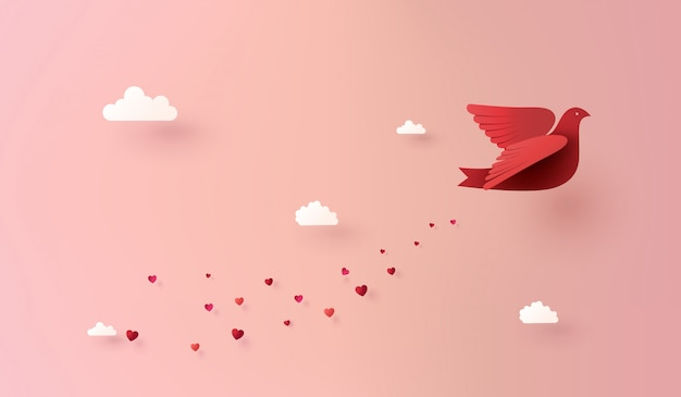 Paper art of love and valentine day, Premium Vector