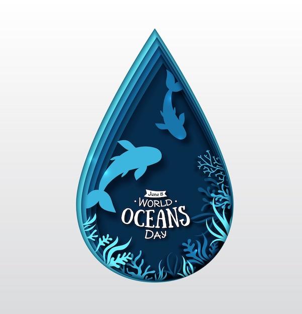 Paper art of world oceans day. waterdruppel, vissen en mariene planten Premium Vector