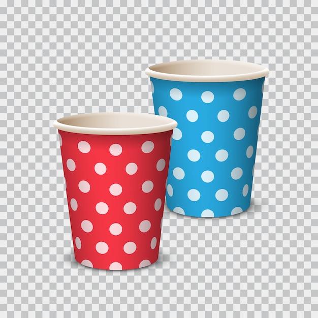 Paper cup-kleur met stip voor dranken Premium Vector