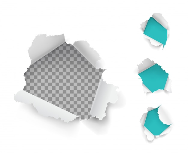 Paper holes collectie Gratis Vector