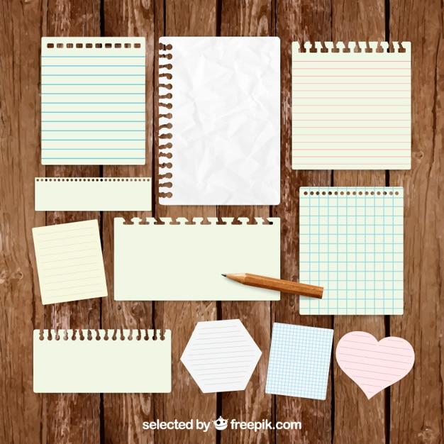 Paper notes pakken Gratis Vector
