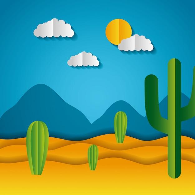Paper origami landschap van een woestijn Gratis Vector