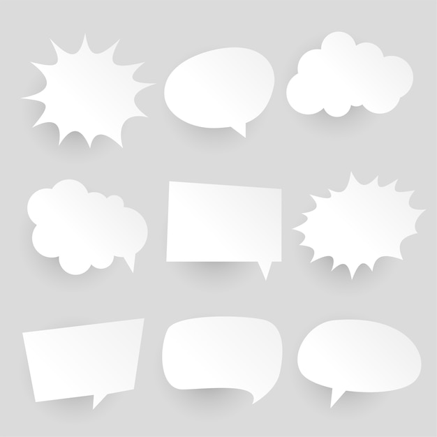 Papercut-stijl komische praatjebellen en uitdrukkingen Gratis Vector
