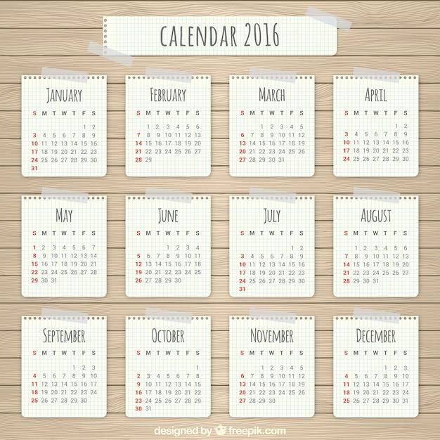 Papier 2016 kalender Gratis Vector