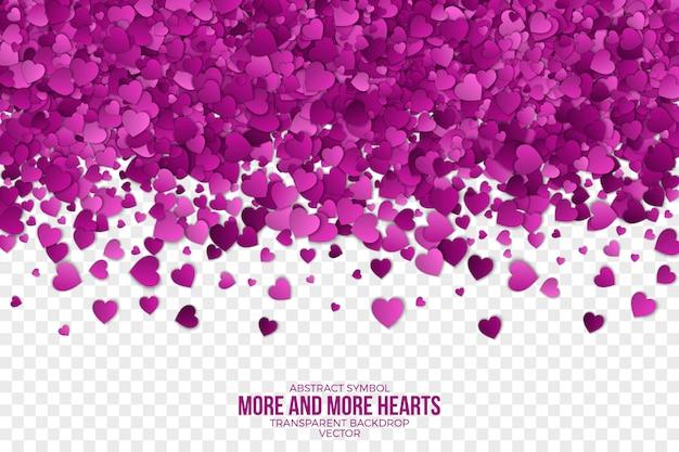 Papier 3d vallende harten abstracte achtergrond Premium Vector