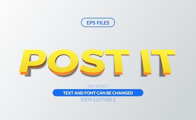 Papier bewerkbaar post-it belangrijk bewerkbaar teksteffect eps-bestand Premium Vector