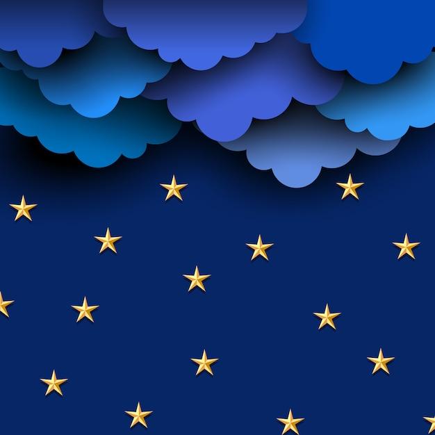 Papier blauwe wolken op nachtelijke hemel met papieren sterren Premium Vector