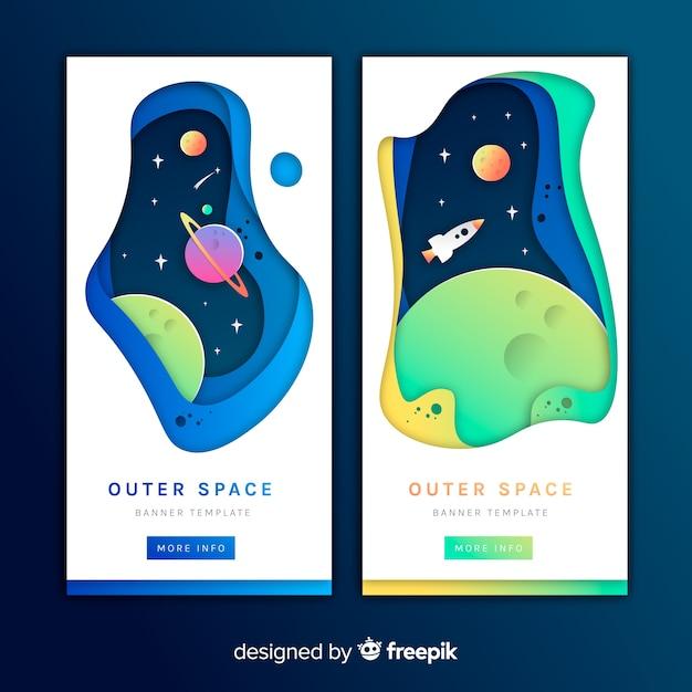 Papier effect banner van de ruimte Gratis Vector