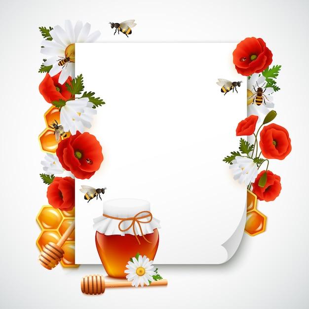 Papier en honing samenstelling Gratis Vector