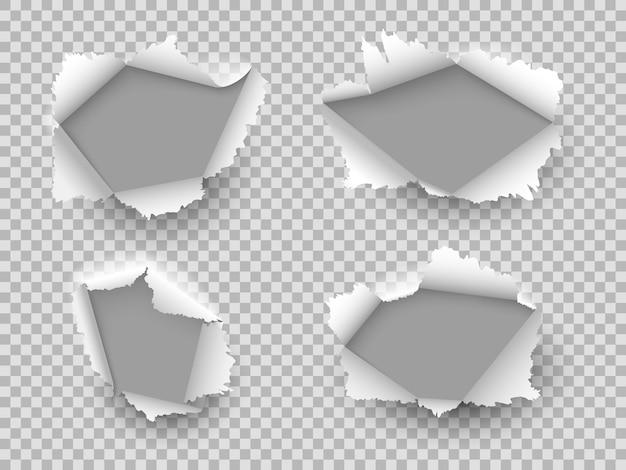 Papier gat. gescheurde gaten gescheurd, kartonnen scheur barstte. beschadigd vel met gekrulde stukken, open papieropening. realistische vector set Premium Vector