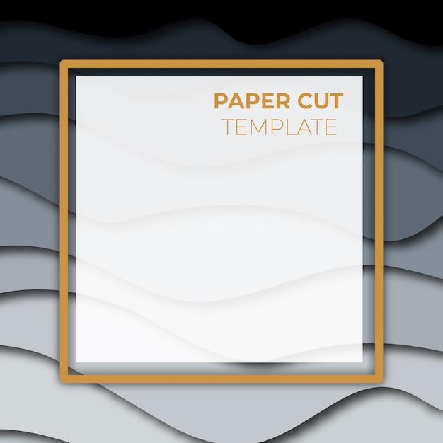 Papier gesneden bannerontwerp. vierkante sjabloon voor berichten op social media, presentaties. Premium Vector