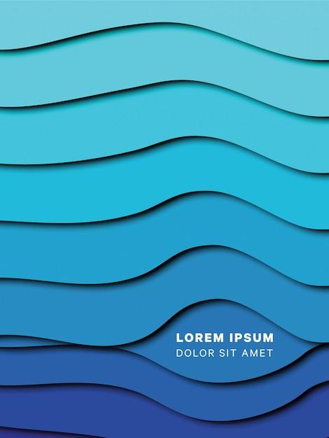 Papier gesneden gelaagde golven achtergrond met vloeiende schaduwen voor banners Premium Vector