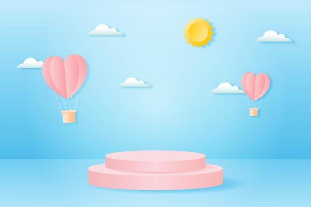 Papier gesneden happy valentijnsdag concept. landschap met wolk, hartvorm hete lucht ballonnen vliegen en meetkundevorm podium op blauwe hemel achtergrond papier kunststijl. Premium Vector