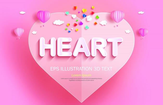 Papier gesneden hart achtergrond sjabloon met hete lucht ballonnen Premium Vector