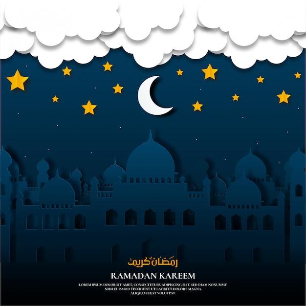 Papier gesneden ramadan kareem met moskee Premium Vector