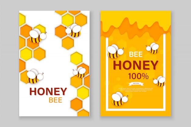 Papier gesneden stijl bij met honingraten. Premium Vector