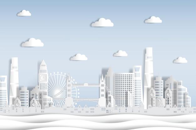 Papier gesneden stijl engeland en stad skyline met wereldberoemde bezienswaardigheden van londen. Premium Vector