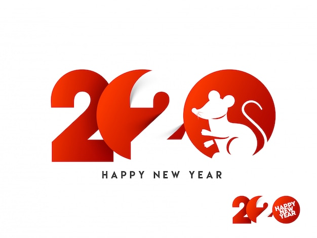 Papier gesneden tekst van 2020 met rat sterrenbeeld in rode en witte kleur voor happy new year celebration. Premium Vector