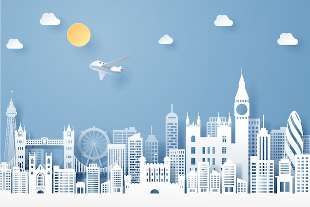 Papier gesneden van engeland landmark, reizen en toerisme concept Premium Vector