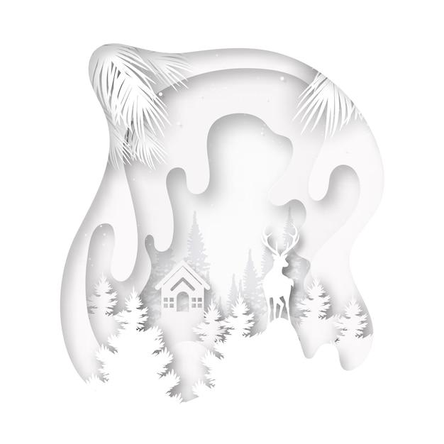 Papier gesneden van witte kleine cottage en herten in het wild op wintertijd landschap en vrolijk kerst achtergrond. Premium Vector