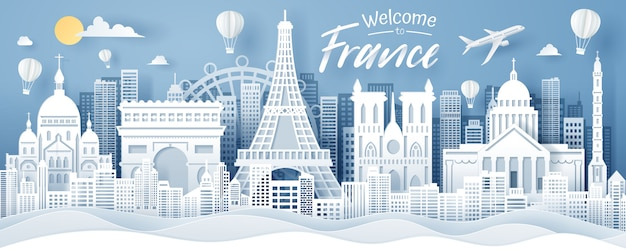 Papier knippen van frankrijk landmark, reizen en toerisme concept. Premium Vector