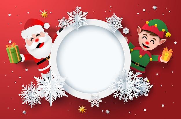 Papier kunst van winter kerstkaart met de kerstman en elf Premium Vector