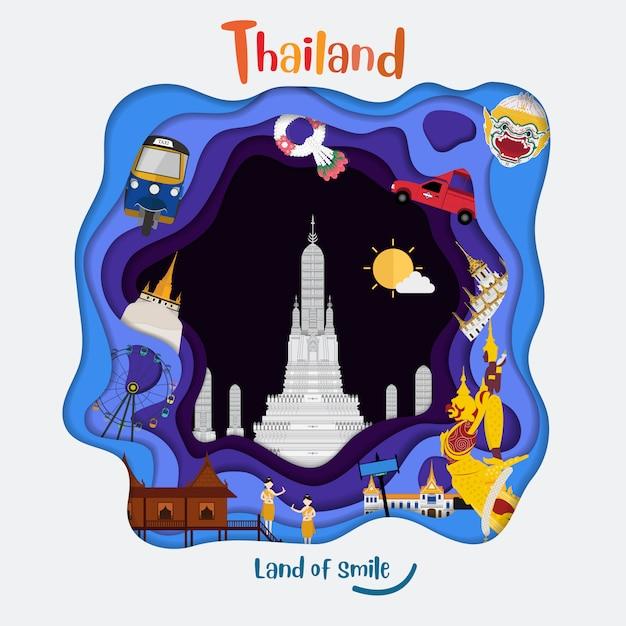 Papier kunststijl met thailand land van glimlach Premium Vector