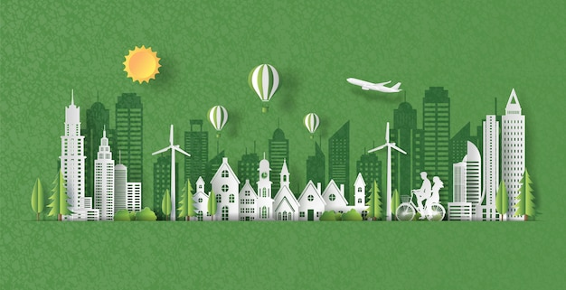 Papier kunststijl van landschap met eco groene stad, gelukkige paar samen rijden op de fiets. Premium Vector