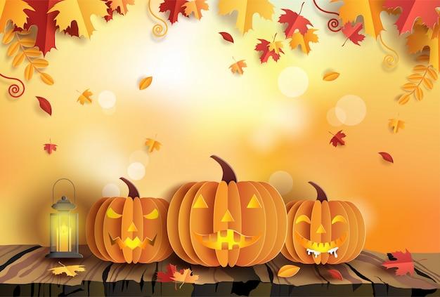 Papier kunststijl van pompoenen op houten herfst achtergrond Premium Vector