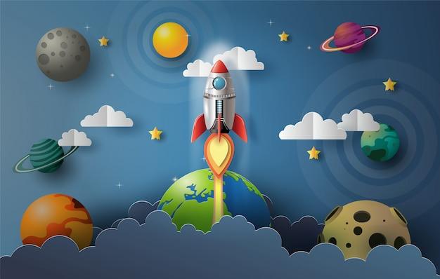 Papier kunststijl van raket vliegen in de ruimte Premium Vector