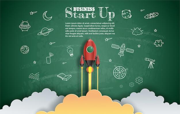 Papier kunststijl van raket vliegen met ruimte en start-up doodles. Premium Vector