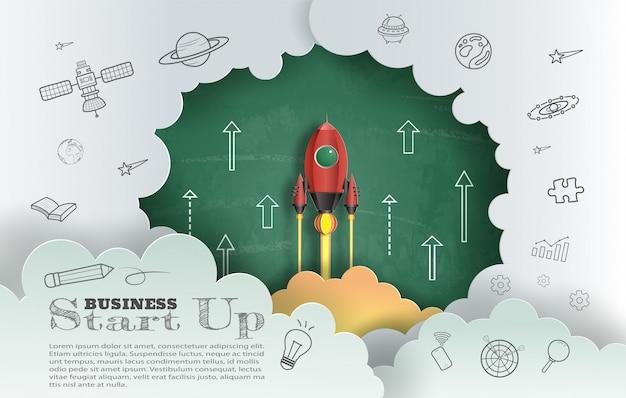 Papier kunststijl van raket vliegen met schoolbord achtergrond Premium Vector