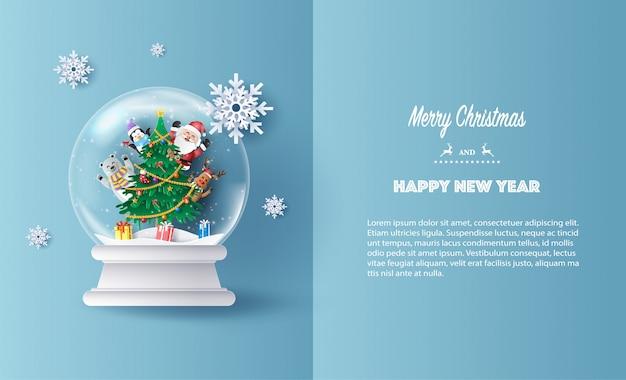 Papier kunststijl van santa claus en vrienden wenskaart Premium Vector