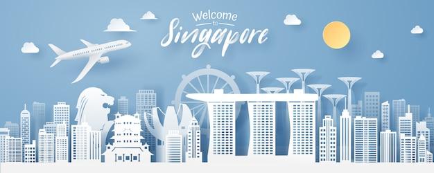 Papier snede van singapore landmark Premium Vector