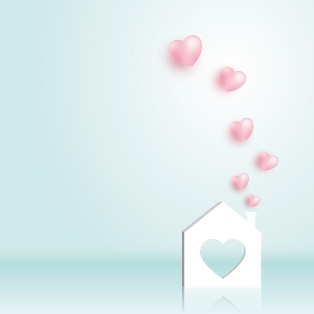 Papier thuis met hart Premium Vector
