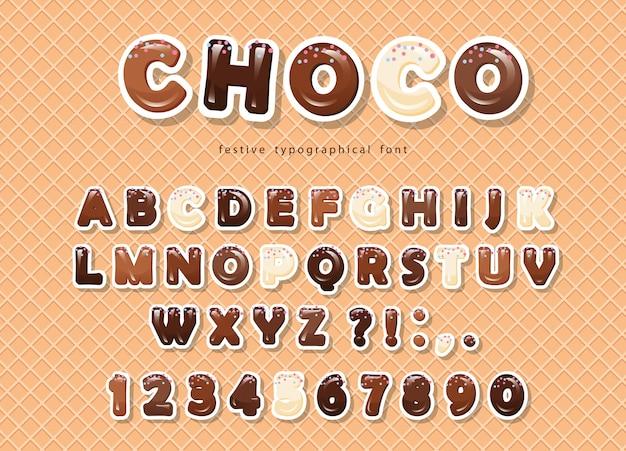Papier uitgesneden chocoladedoopvont op de wafer achtergrond. Premium Vector