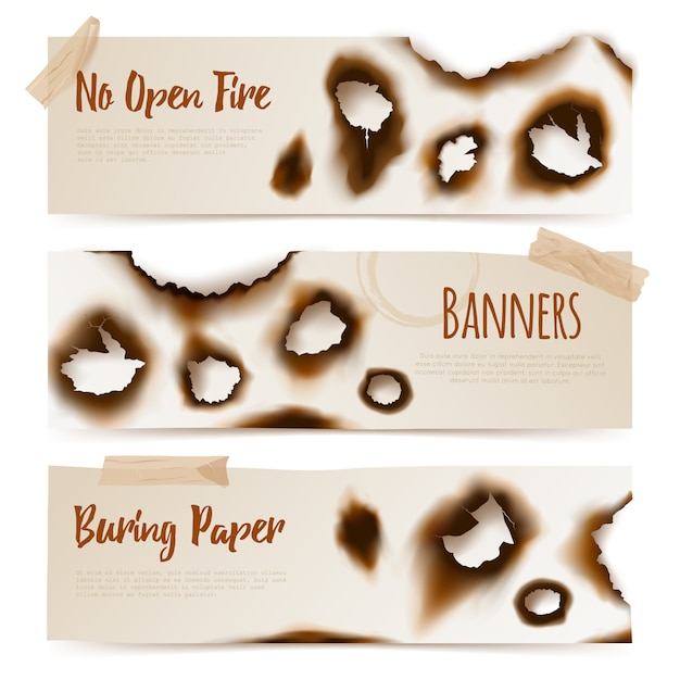 Papier verbrande gaten banners Gratis Vector
