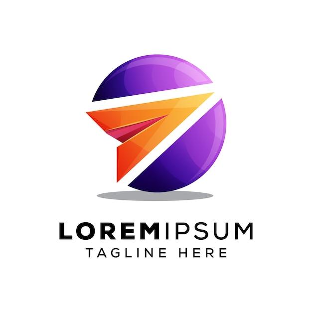 Papier vliegtuig met cirkel logo of logo Premium Vector