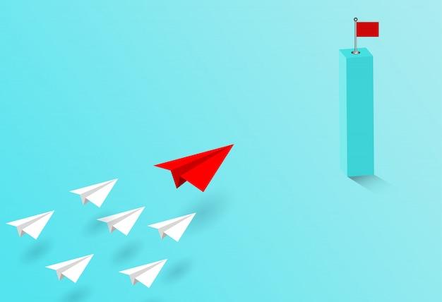 Papier vliegtuig rood en wit concurreren naar bestemming. Premium Vector