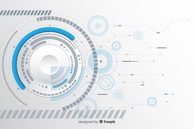 Papiercirkel met printplaat achtergrond Gratis Vector