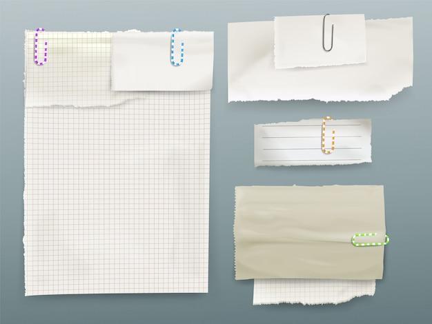 Papieren bericht notities illustratie van vellen en stukjes papier op clips. Gratis Vector