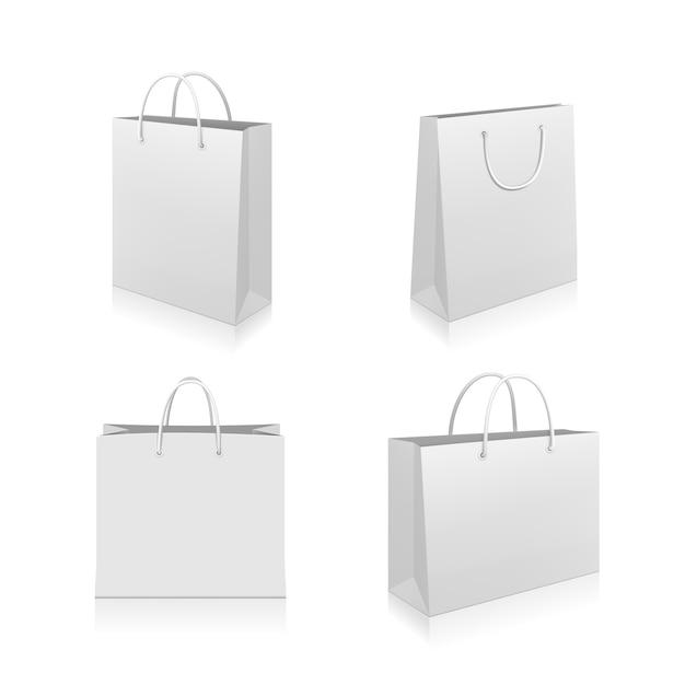 Papieren boodschappentassen collectie Gratis Vector