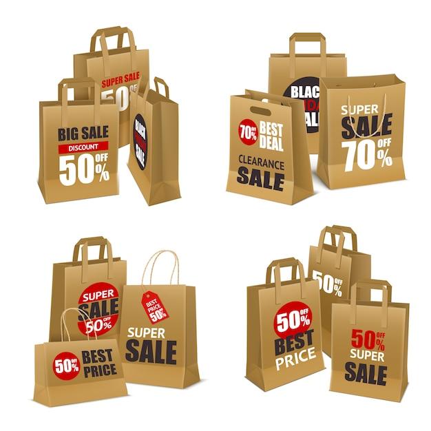 Papieren boodschappentassen Gratis Vector