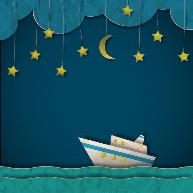 Papieren cruiseschip 's nachts Premium Vector