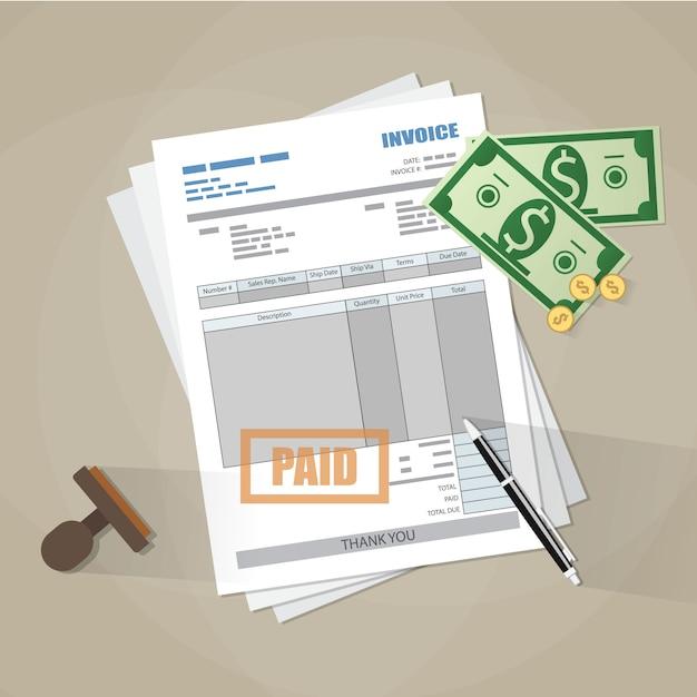 Papieren factuurformulier, betaalde stempel, pen, contant geld Premium Vector